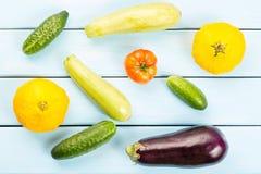 Χορτοφάγα υγιή τρόφιμα με τα λαχανικά Ντομάτα, αγγούρια, κολοκύθες θάμνων, eggplantsand κολοκύθια στον μπλε ξύλινο πίνακα Στοκ Εικόνες