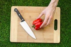 Χορτοφάγοι και μαγείρεμα στη φύση του θέματος: το ανθρώπινο χέρι που κρατούν ένα κόκκινο πιπέρι και ένα μαχαίρι σε μια κοπή επιβι στοκ εικόνες με δικαίωμα ελεύθερης χρήσης