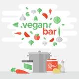 Χορτοφάγος έννοια εμβλημάτων τροφίμων επίπεδη Στοκ Εικόνες