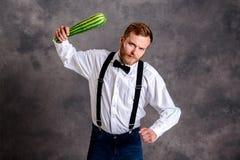 0 χορτοφάγος απειλητικός με το ρόπαλο κολοκυθιών Στοκ φωτογραφία με δικαίωμα ελεύθερης χρήσης