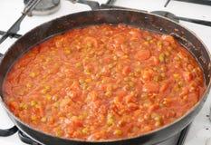Χορτοφάγος σάλτσα με τα καρότα, τα μπιζέλια και τη σόγια Στοκ εικόνες με δικαίωμα ελεύθερης χρήσης