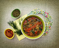 Χορτοφάγος σούπα με τις ντομάτες και τα φασόλια mung Στοκ Φωτογραφίες