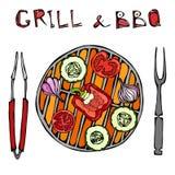 χορτοφάγος σχάρα Φυτικό BBQ Λαβίδες και δίκρανο συσκευών πικ-νίκ και σχαρών Ντομάτα, πιπέρι κουδουνιών, κρεμμύδι, σκόρδο και κολο απεικόνιση αποθεμάτων