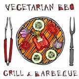 χορτοφάγος σχάρα Φυτικό BBQ Λαβίδες και δίκρανο συσκευών πικ-νίκ και σχαρών Ντομάτα, πιπέρι κουδουνιών, κρεμμύδι, σκόρδο και κολο διανυσματική απεικόνιση