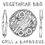 χορτοφάγος σχάρα Φυτικό BBQ Λαβίδες και δίκρανο συσκευών πικ-νίκ και σχαρών Ντομάτα, πιπέρι κουδουνιών, κρεμμύδι, σκόρδο και κολο ελεύθερη απεικόνιση δικαιώματος