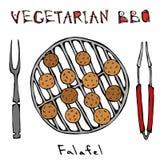 Χορτοφάγος BBQ Falafel σχάρα, δίκρανο, λαβίδες ανατολική μέση κουζίνας Αραβικό χορτοφάγο υγιές γρήγορο φαγητό του Ισραήλ Εβραϊκά  ελεύθερη απεικόνιση δικαιώματος