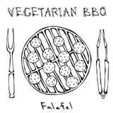 Χορτοφάγος BBQ Falafel σχάρα, δίκρανο, λαβίδες ανατολική μέση κουζίνας Αραβικό χορτοφάγο υγιές γρήγορο φαγητό του Ισραήλ Εβραϊκά  διανυσματική απεικόνιση