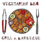 Χορτοφάγος BBQ Falafel σχάρα, λαχανικά, δίκρανο, λαβίδες ανατολική μέση κουζίνας Αραβικό χορτοφάγο υγιές γρήγορο φαγητό του Ισραή ελεύθερη απεικόνιση δικαιώματος