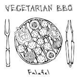 Χορτοφάγος BBQ Falafel σχάρα, λαχανικά, δίκρανο, λαβίδες ανατολική μέση κουζίνας Αραβικό χορτοφάγο υγιές γρήγορο φαγητό του Ισραή διανυσματική απεικόνιση