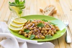 Χορτοφάγος chickpeas σαλάτα με τη μέντα και τα καρυκεύματα Στοκ φωτογραφία με δικαίωμα ελεύθερης χρήσης