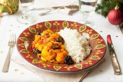 Χορτοφάγο γεύμα Φυτικό stew με το χνουδωτό ρύζι Στοκ φωτογραφία με δικαίωμα ελεύθερης χρήσης