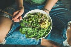 Χορτοφάγο πρόγευμα με το σπανάκι, το arugula, το αβοκάντο, τους σπόρους και τους νεαρούς βλαστούς Στοκ εικόνα με δικαίωμα ελεύθερης χρήσης