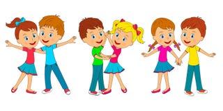 Χορός αγοριών και κοριτσιών διανυσματική απεικόνιση