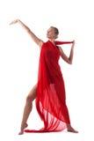 Χορός γυναικών με το πετώντας ύφασμα που απομονώνεται Στοκ εικόνες με δικαίωμα ελεύθερης χρήσης