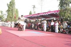 Χορός εκατοντάδων που οργανώνεται σε Sukoharjo στοκ εικόνα