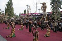 Χορός εκατοντάδων που οργανώνεται σε Sukoharjo Στοκ Φωτογραφία