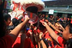 Χορός λιονταριών πραγμάτων στον κινεζικό νέο εορτασμό έτους Στοκ εικόνες με δικαίωμα ελεύθερης χρήσης
