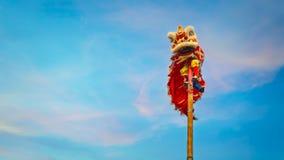 Χορός λιονταριών σε έναν κινεζικό νέο εορτασμό έτους ` s Στοκ φωτογραφία με δικαίωμα ελεύθερης χρήσης