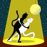 Χορός κάτω από το φως μιας γραπτής γάτας Απεικόνιση στο επίπεδο ύφος διανυσματική απεικόνιση