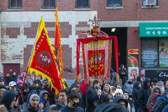 Χορός λιονταριών σε Chinatown Βοστώνη, Μασαχουσέτη, ΗΠΑ στοκ φωτογραφίες