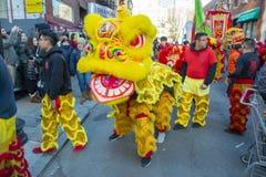 Χορός λιονταριών σε Chinatown Βοστώνη, Μασαχουσέτη, ΗΠΑ στοκ εικόνες