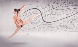 Χορός τέχνης προς θέαση χορευτών μπαλέτου με τις γραμμές και τα βέλη Στοκ φωτογραφία με δικαίωμα ελεύθερης χρήσης