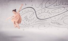 Χορός τέχνης προς θέαση χορευτών μπαλέτου με τις γραμμές και τα βέλη Στοκ Φωτογραφίες