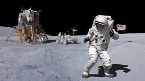 Χορός του αστροναύτη στο φεγγάρι r διανυσματική απεικόνιση