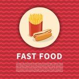 Χοτ-ντογκ και αφίσα τηγανιτών πατατών Χαριτωμένη χρωματισμένη εικόνα του γρήγορου φαγητού Γραφικά στοιχεία σχεδίου για τις επιλογ Στοκ εικόνα με δικαίωμα ελεύθερης χρήσης