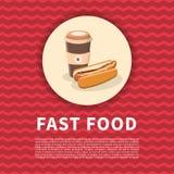 Χοτ-ντογκ και καφές για να πάει αφίσα Χαριτωμένη χρωματισμένη κινούμενα σχέδια εικόνα του γρήγορου φαγητού Στοιχεία σχεδίου επιλο Στοκ Φωτογραφία