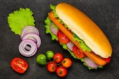 Χοτ-ντογκ με τα φρέσκα οργανικά λαχανικά Στοκ Φωτογραφία