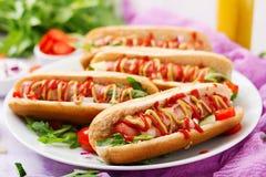 Χοτ-ντογκ με το λουκάνικο μπέϊκον, αγγούρι, ντομάτα και κόκκινο κρεμμύδι Στοκ Φωτογραφίες