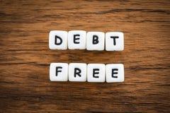 Χρέος ελεύθερο - επιχειρησιακή έννοια για την οικονομική ελευθερία πιστωτικών χρημάτων από τη διαχείρηση κινδύνων προβλημάτων τόκ στοκ φωτογραφία με δικαίωμα ελεύθερης χρήσης