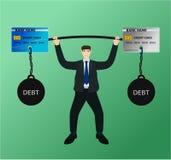 Χρέος πιστωτικών καρτών ανελκυστήρων επιχειρηματιών barbell με τη δυσκολία ελεύθερη απεικόνιση δικαιώματος