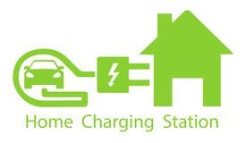 Χρέωση για τα ηλεκτρικά οχήματα Πρότυπο οδικών σημαδιών λογότυπων του ηλεκτρικού οχήματος Διανυσματική απεικόνιση ενός minimalist Στοκ Εικόνα