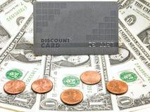 χρήματα έκπτωσης καρτών στοκ φωτογραφία με δικαίωμα ελεύθερης χρήσης