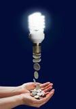 Χρήματα αποταμίευσης έννοιας με τη χρησιμοποίηση του λαμπτήρα ενεργειακών αποταμιευτών στοκ φωτογραφία