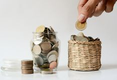 Χρήματα αποταμίευσης, εκτός από την έννοια αποταμίευσης χρημάτων Στοκ Φωτογραφία