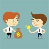 Χρήματα αλλαγής επιχειρηματιών με το διάνυσμα ιδέας Στοκ Εικόνες