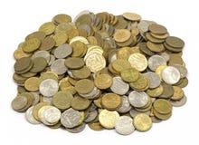 Χρήματα, αλλαγή, πένα, σωρός των σεντ στοκ φωτογραφίες