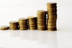 χρήματα γραφικών παραστάσεων ράβδων Στοκ Φωτογραφία
