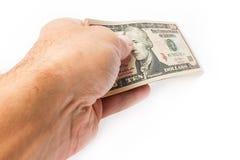 Χρήματα εκμετάλλευσης επιχειρησιακών ατόμων στο άσπρο υπόβαθρο στοκ εικόνες