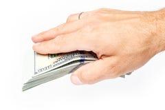 Χρήματα εκμετάλλευσης επιχειρησιακών ατόμων στο άσπρο υπόβαθρο στοκ φωτογραφία με δικαίωμα ελεύθερης χρήσης