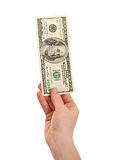 χρήματα εκμετάλλευσης χεριών 100 δολαρίων δολαρίων εμείς Στοκ Εικόνες