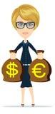 Χρήματα εκμετάλλευσης επιχειρησιακών γυναικών, διανυσματική απεικόνιση απεικόνιση αποθεμάτων