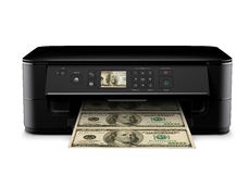 Χρήματα εκτύπωσης Στοκ Φωτογραφία