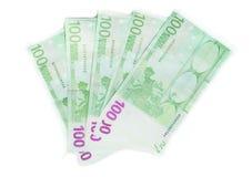 χρήματα 100 ευρο- τραπεζογραμματίων λογαριασμών ευρο- ευρωπαϊκή ένωση νομίσματο&sig Στοκ φωτογραφία με δικαίωμα ελεύθερης χρήσης