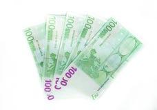 χρήματα 100 ευρο- τραπεζογραμματίων λογαριασμών ευρο- ευρωπαϊκή ένωση νομίσματο&sig Στοκ Εικόνες