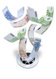 Χρήματα ευρώ κάτω από τον αγωγό Στοκ Εικόνα