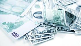 Χρήματα ευρώ και δολαρίων Στοκ Εικόνες